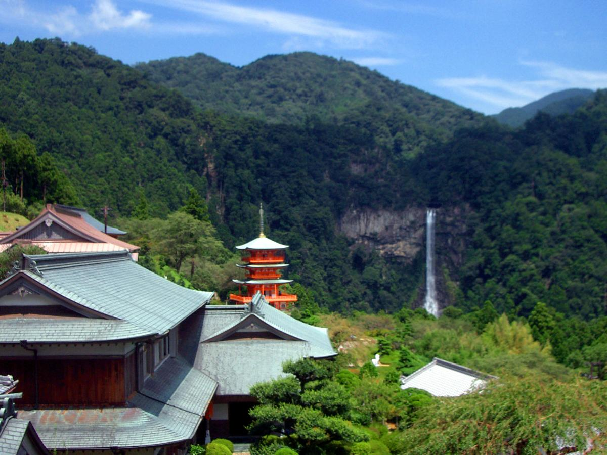 Impressive landscape in Japan: Nachi waterfall seen from Kumano-nachi Grand Shrine (Wakayama prefecture).