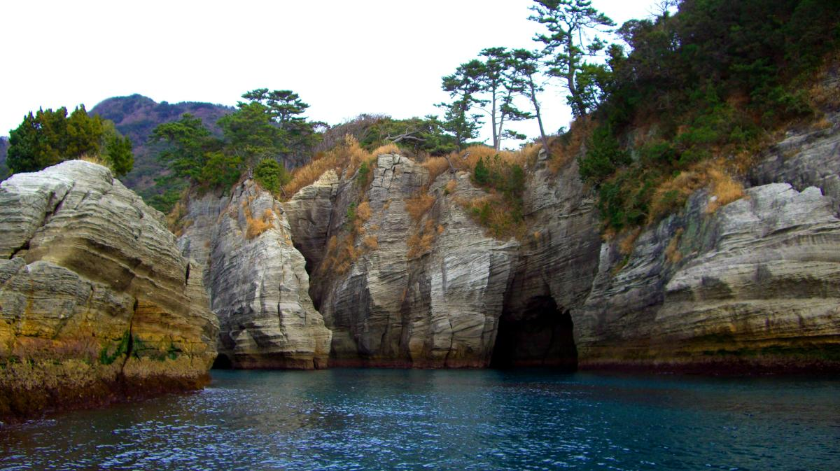 Hidden landscape in Japan: Coastal cliff at Dogashima (near Nishi-izu town, Shizuoka prefecture).