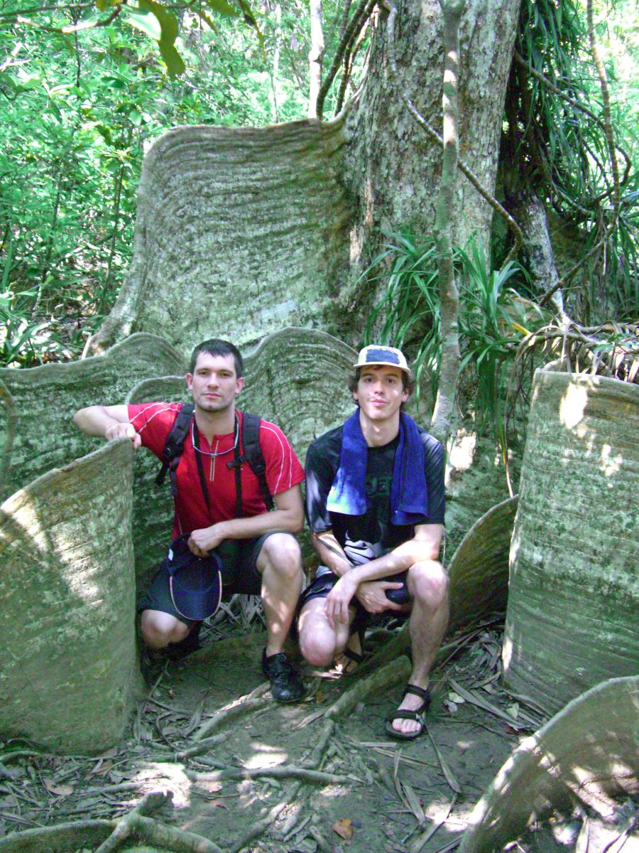 Sébastien Duval with François between the roots of a Sakishima-suo tree on 西表島 (Iriomote island, Japan) on 31 October 2008.