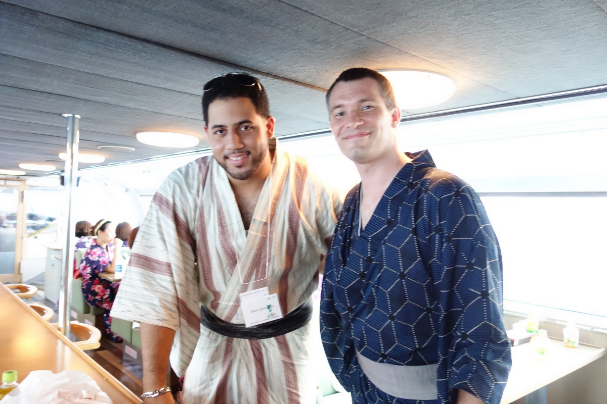 Yukata De Guide Tour: Edwin and Sébastien Duval in 墨田区 (Sumida ward, Tokyo, Japan) on 02 August 2014.