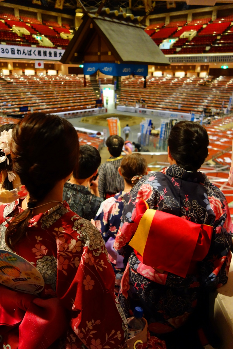 Yukata De Guide Tour: At Ryogoku-kokugikan in 墨田区 (Sumida ward, Tokyo, Japan) on 02 August 2014.