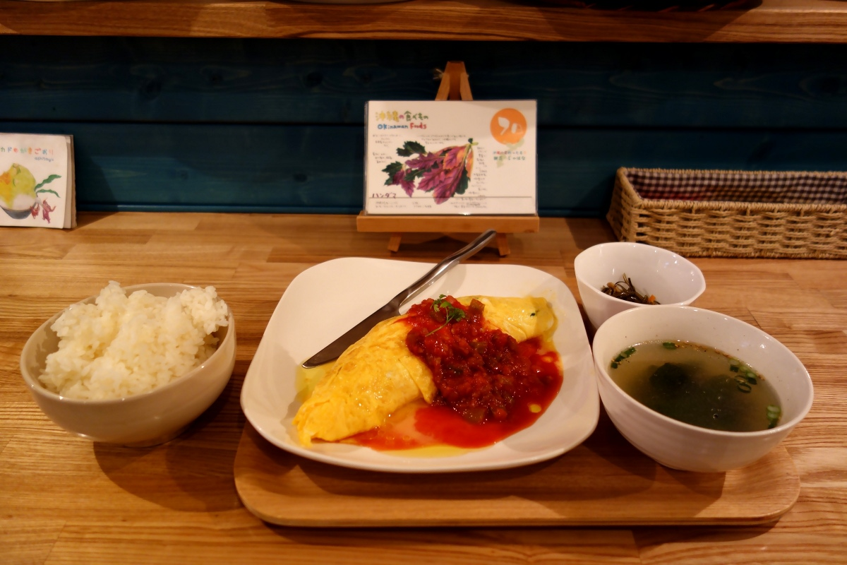 Goya omelette with a soup, seaweeds, and white rice at なごかふぇ (Nago café, Tokyo, Japan) on 07 March 2014.